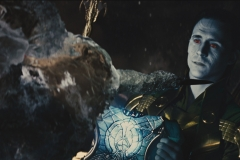 Loki incapacitates Heimdall on the Bifrost
